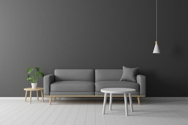 Concetto minimale interno del divano in tessuto grigio vivente, tavolo in legno, plafoniera e cornice su pavimento in legno e parete nera.