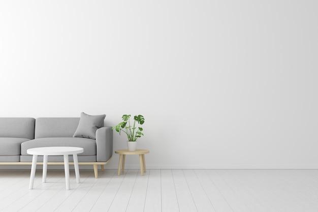 Concetto minimale interno del divano in tessuto grigio vivente, tavolo in legno sul pavimento in legno e muro bianco.
