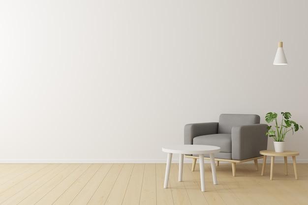 Concetto minimale interno della poltrona di tessuto grigio vivente, tavolo in legno sul pavimento in legno e muro bianco.