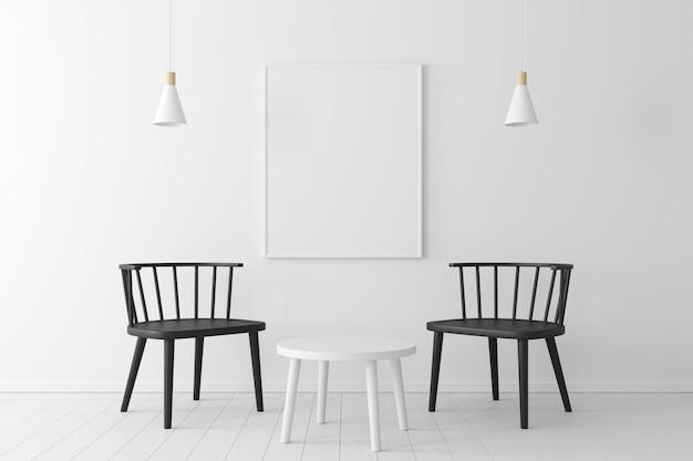 Concetto minimale interno della vita sedia nera, tavolo in legno, lampada da soffitto e telaio sul pavimento in legno e muro bianco.
