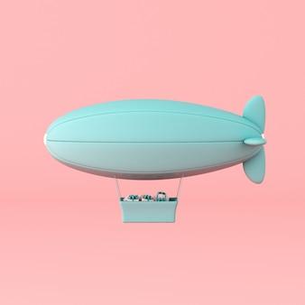 Concetto minimo di dirigibile galleggiante e casella presente nel cestino sul muro pastello. rendering 3d.