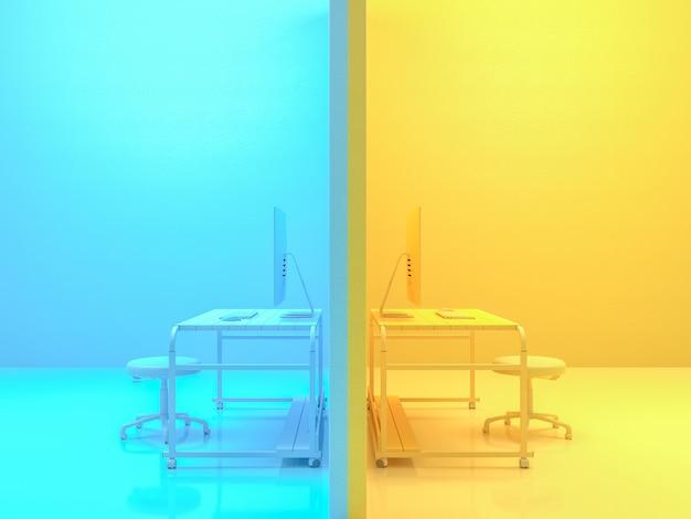 Concetto minimo di idea, computer sul colore giallo e blu della tavola di legno dello scrittorio del lavoro. rendering 3d