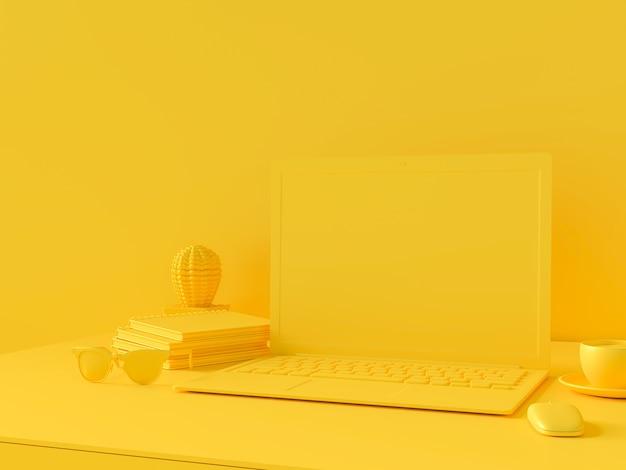 Concetto minimo, laptop sul tavolo colore giallo scrivania da lavoro