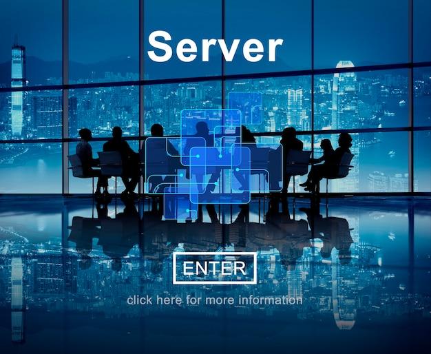 Concetto online della base di dati di internet di tecnologia del server