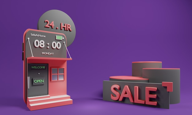 Concetto online di compera 3d con l'applicazione e il podio online di compera