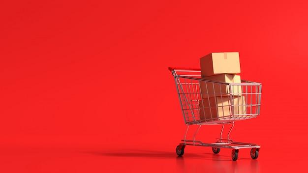 Concetto online di compera della rappresentazione 3d, carrello con la scatola di cartone su fondo rosso.