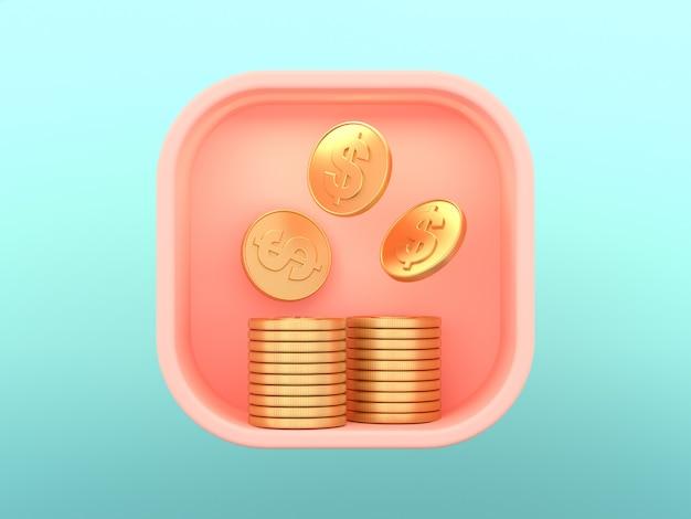 Concetto skeuomorphic quadrato di affari dei soldi dell'icona della rappresentazione 3d