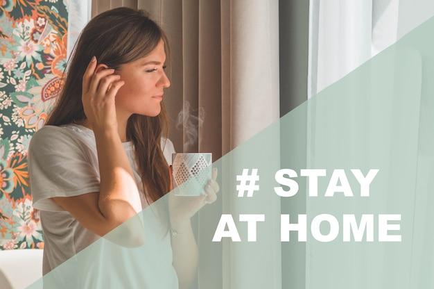 Concetto stay at home campagna sui social media per la prevenzione del coronavirus
