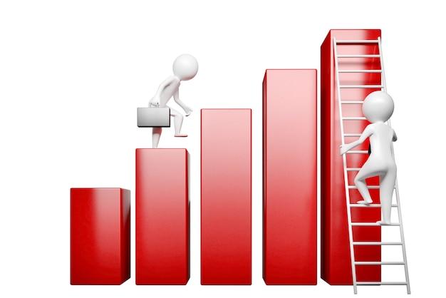 Concetto sul tema dell'illustrazione di crescita 3d di carriera