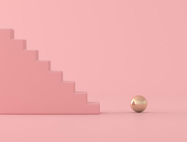Concettuale astratto della sfera rosa dell'oro e della scala, stile minimo, rappresentazione 3d.