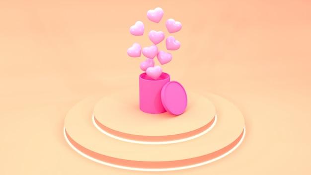 Confezione regalo con palloncini volanti. rendering 3d