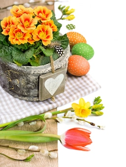 Confine pasquale con primula, fiori primaverili e decorazioni