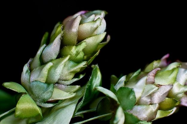 Coni di luppolo isolati su uno sfondo nero. fiori finti di seta artificiale