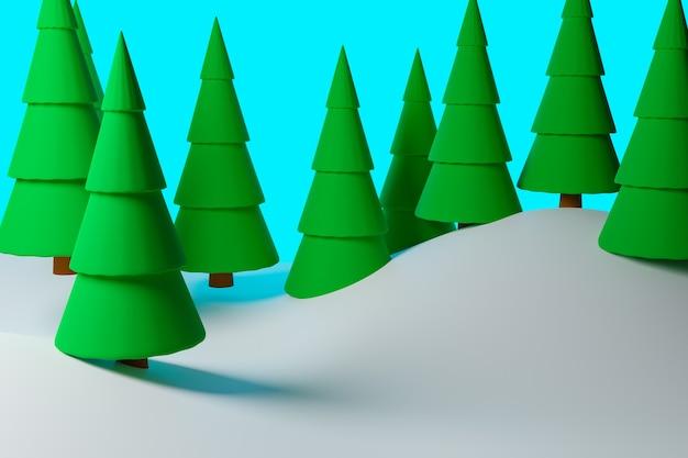 Conifere verdi in una foresta invernale con grandi cumuli di neve.