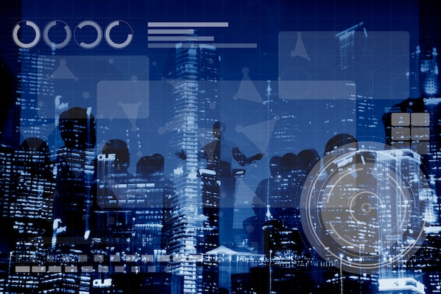 Connessione alla tecnologia online networking medias conpt