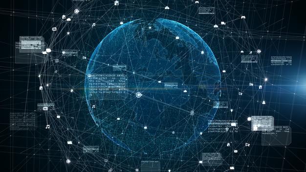 Connessione dati digitale, rete tecnologica e concetto di sicurezza informatica, concetto di sfondo futuro cyberspazio digitale.