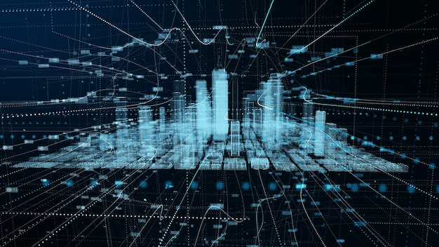 Connessione di rete futuristica digitale di big city dati. concetto di tecnologia di rendering 3d.
