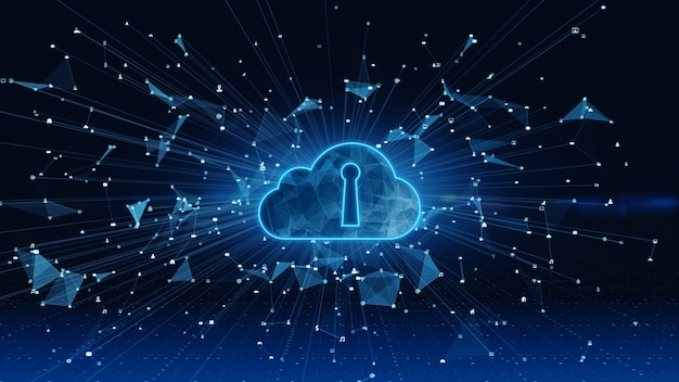 Connessioni alla rete di dati digitali cloud computing e comunicazione globale. 5g di analisi dei dati di connessione ad alta velocità.