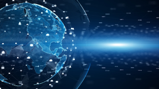 Connessioni alla rete di dati digitali e comunicazione globale. 5g di analisi dei dati di connessione ad alta velocità