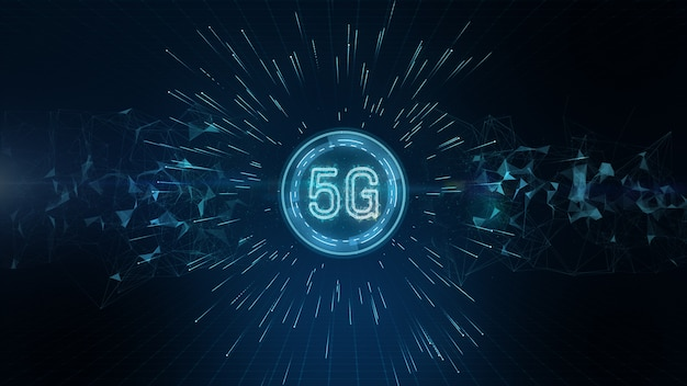 Connettività 5g di dati digitali e tecnologia dell'informazione futuristica concettuale che utilizza intelligenza artificiale ai