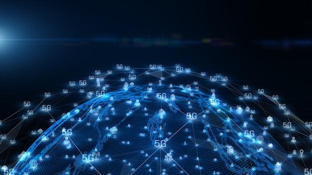 Connettività di dati digitali di sfondo 5g