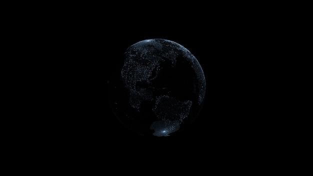 Connettività di trasporto di particelle di pianeta terra globo. rendering 3d astratto. isolato su sfondo nero.