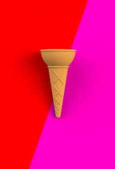 Cono dolce del wafer su rosa e su rosso, rappresentazione 3d