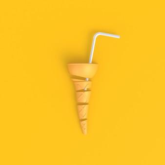 Cono gelato affettato con cannucce bianche astratto giallo minimal