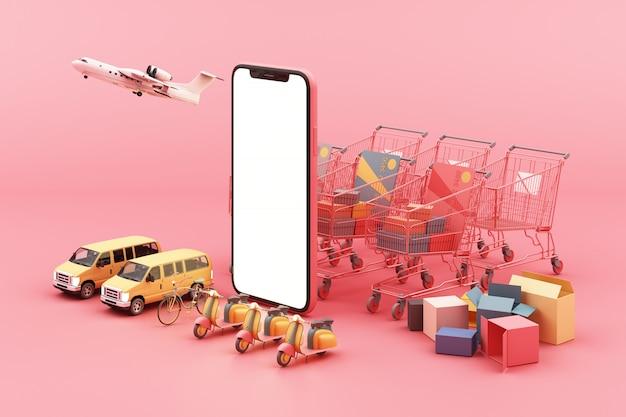 Consegna veloce in scooter, furgone e aereo sul cellulare