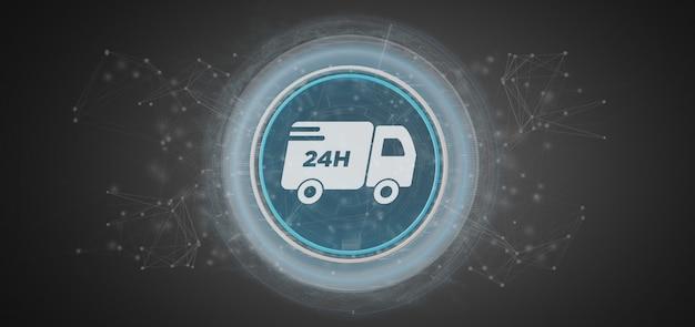 Consegna veloce maon con rendering 3d di connessione