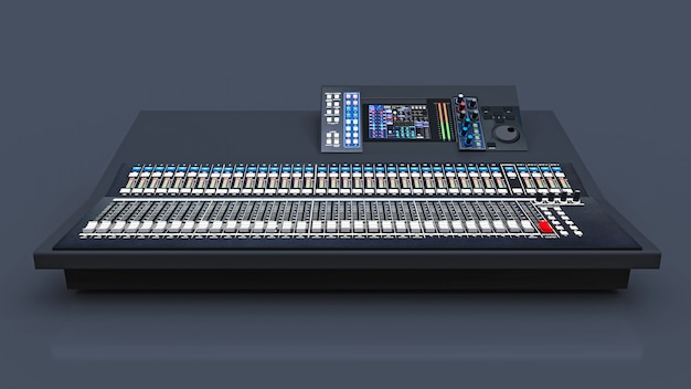 Console di mixaggio grigia di medie dimensioni per il lavoro di studio e esibizioni dal vivo su uno spazio grigio. rendering 3d.