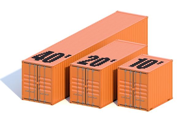 Container marroni per navi, di diversa lunghezza - 10, 20 e 40 piedi, con ombra