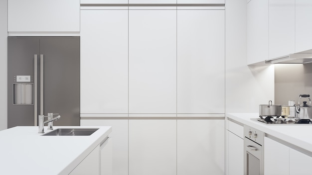 Contatore di cucina moderna in casa di lusso
