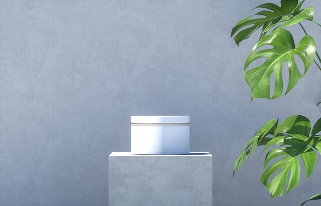 Contenitore cosmetico su un podio di cemento con foglie di palma