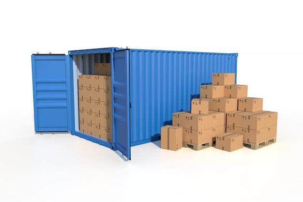 Contenitore di carico blu della nave con le scatole di cartone, isolate su bianco