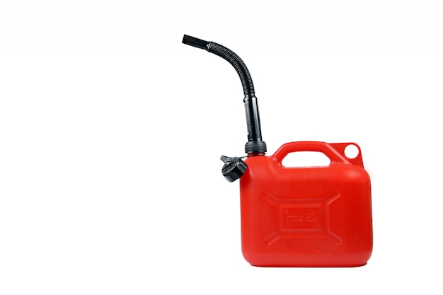 Contenitore di plastica per carburante con un tubo flessibile