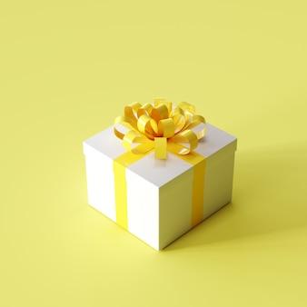 Contenitore di regalo bianco con il nastro giallo su colore giallo. idea natalizia. rendering 3d.
