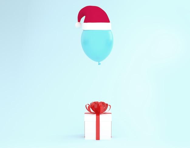 Contenitore di regalo bianco con nastro rosso e palloncino con cappello santa su sfondo blu.