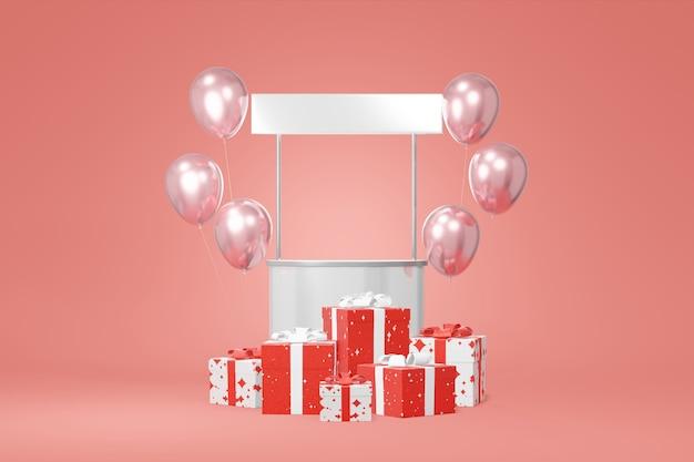 Contenitore di regalo bianco festivo per promozione stand. vendita di negozi pubblicitari.