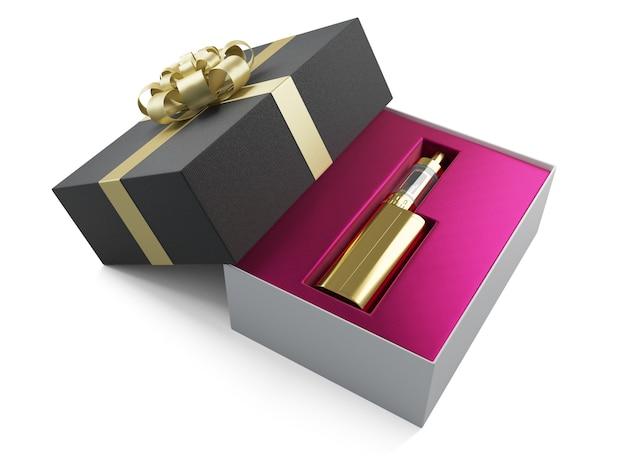 Contenitore di regalo dorato del mod della batteria di e-cig di vaping isolato sui precedenti bianchi