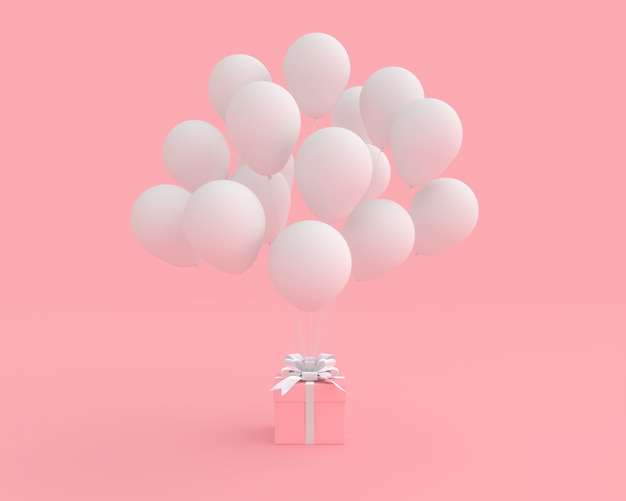 Contenitore di regalo rosa con il pallone sul concetto rosa del biglietto di s. valentino del fondo.