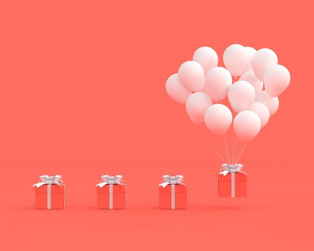 Contenitore di regalo rosa con palloncino su sfondo rosa