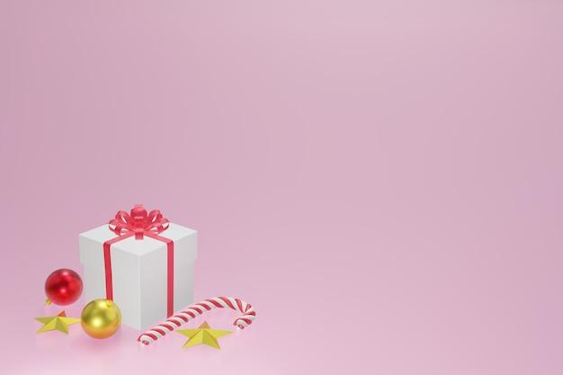 Contenitore di regalo rosso bianco, palle di natale, caramella di natale e stella d'oro su fondo rosa, rappresentazione 3d.