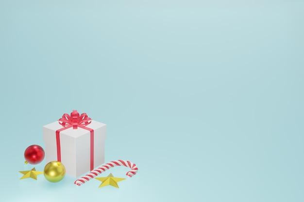 Contenitore di regalo rosso bianco, palle di natale, caramella di natale e stella d'oro sul fondo del cielo blu, rappresentazione 3d.