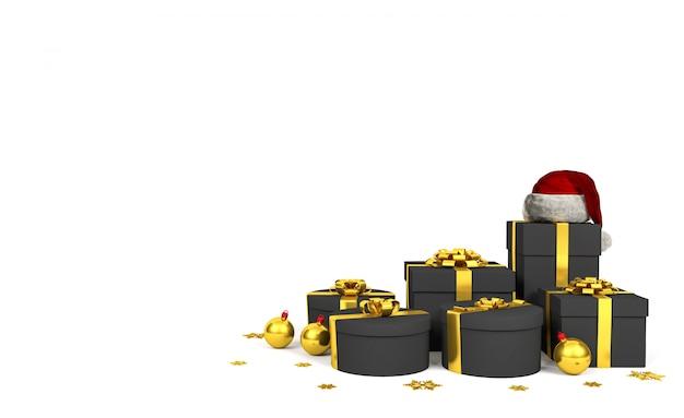 Contenitori di regalo neri con il nastro dorato e santa claus hat su fondo bianco, rappresentazione 3d