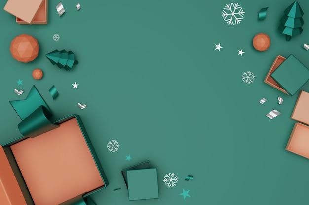 Contenitori di regalo unboxing della rappresentazione 3d. apra il contenitore di regalo e gli accessori vuoti, concetto online di acquisto.