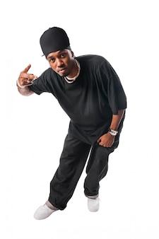 Cool giovane hip-hop uomo su sfondo bianco