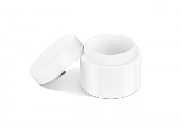 Coperchio openned del contenitore crema cosmetico di imballaggio in bianco isolato