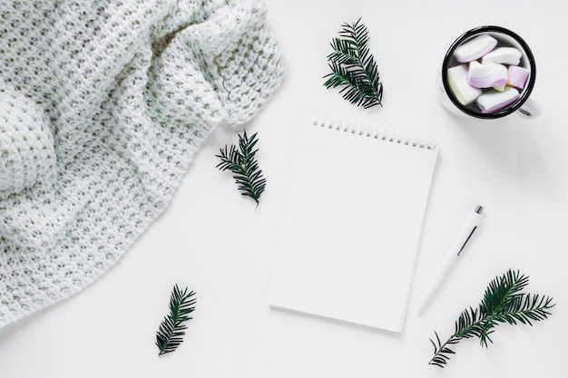Coperta e cioccolata calda vicino a conifere ramoscelli e notebook
