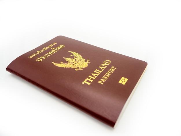 Copertura del passaporto della tailandia, cittadino di identificazione isolato su fondo bianco.